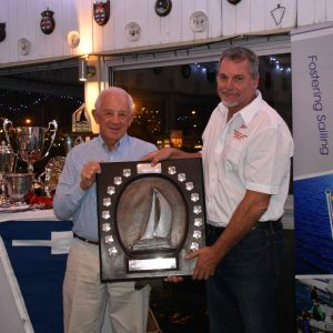 Craig Millar receives the Rubicon Trophy from Phil Gutsche. Millar was awarded this tropy for outstanding seamanship in the 2016 Vasco da Gama Ocean Race