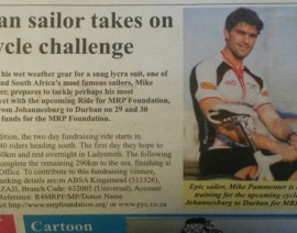 Sailor, Michael Pammenter, takes on Cycle Challenge