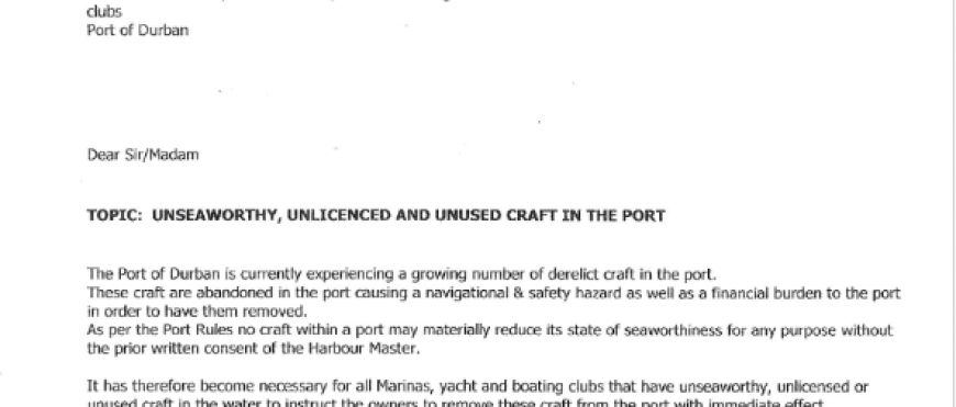 Letter From the Harbour Master: Unseaworthy, Unlicensed and unused Craft in the Port